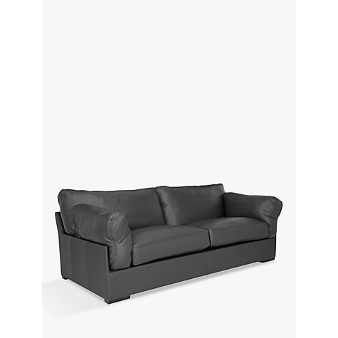 John Lewis Java Leather Large 3 Seater Sofa Dark Leg Winchester Anthracite Grey
