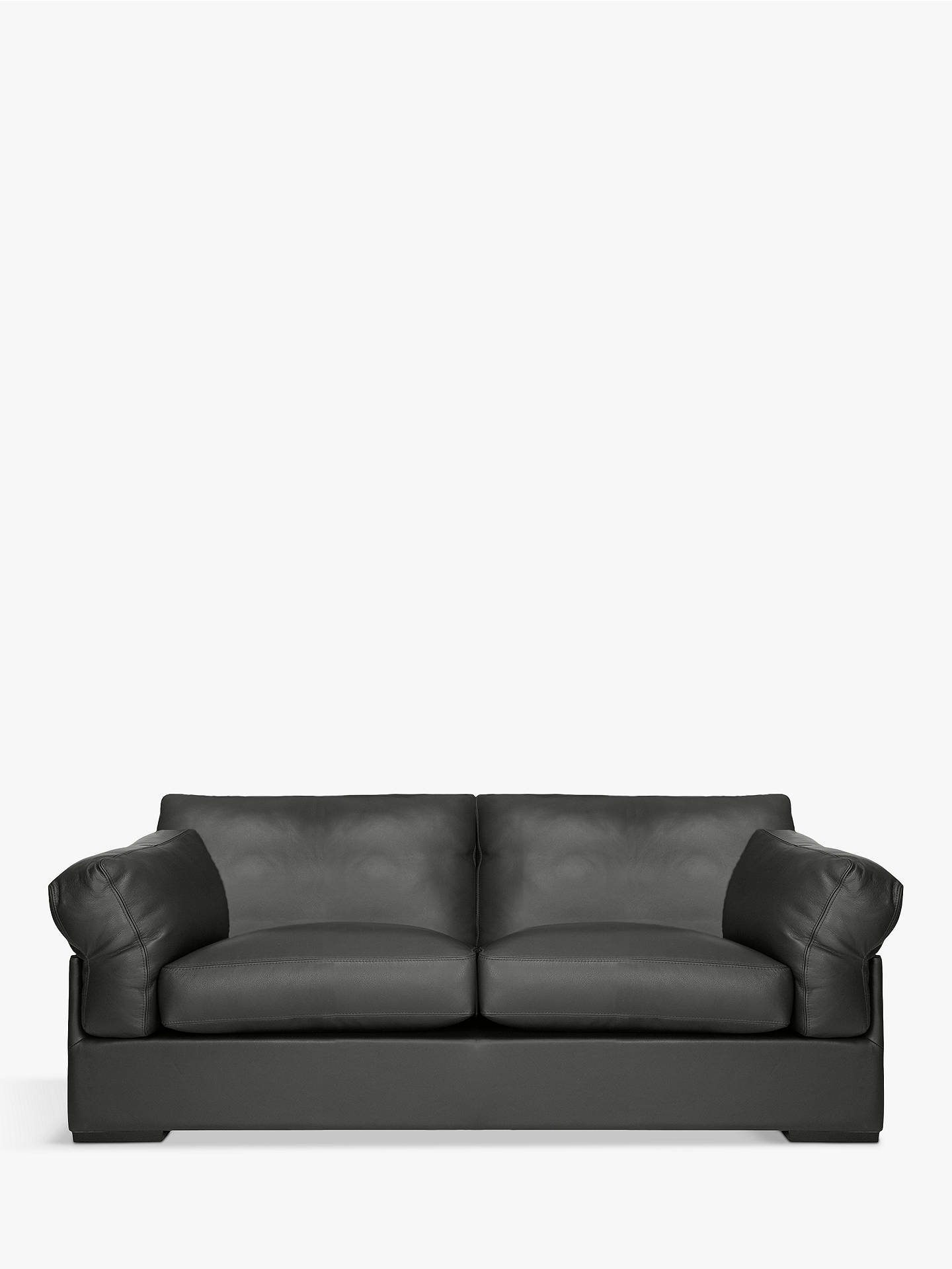 Buy John Lewis & Partners Java Large 3 Seater Leather Sofa, Dark Leg, Winchester Anthracite Online at johnlewis.com