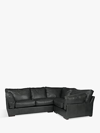 John Lewis U0026 Partners Java RHF Leather Corner Sofa, Dark Leg