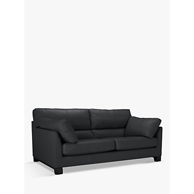 John Lewis & Partners Ikon High Back Leather Grand 4 Seater Sofa, Dark Leg, Winchester Anthracite Grey