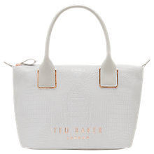 Buy Ted Baker Remaa Text Small Tote Bag, Light Grey Online at johnlewis.com