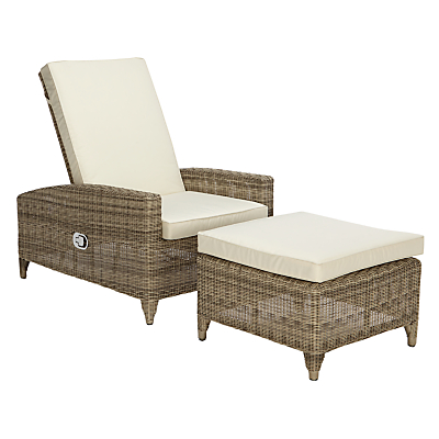 John Lewis Dante Luxe Outdoor Sunlounger with Foot Stool, Natural