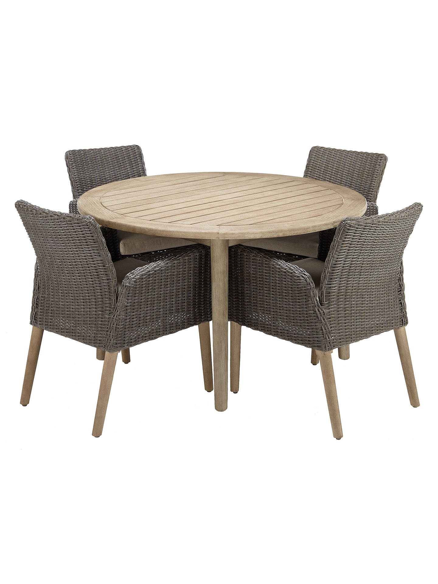 Buy John Lewis & Partners Eden 4-Seater Outdoor Round Dining Table, FSC-Certified (Eucalyptus), Salima Wash Online at johnlewis.com