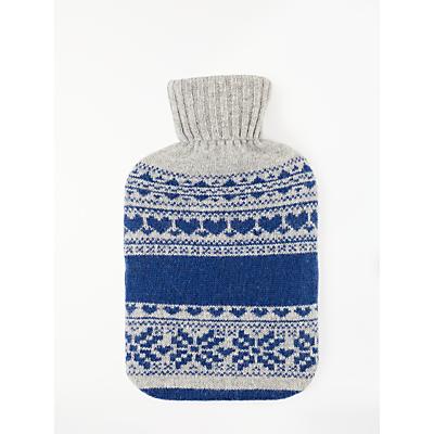 John Lewis & Partners Fair Isle Knit Hot Water Bottle, Blue/Grey