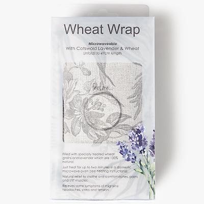 John Lewis Fern Printed Wheat Wrap, Grey