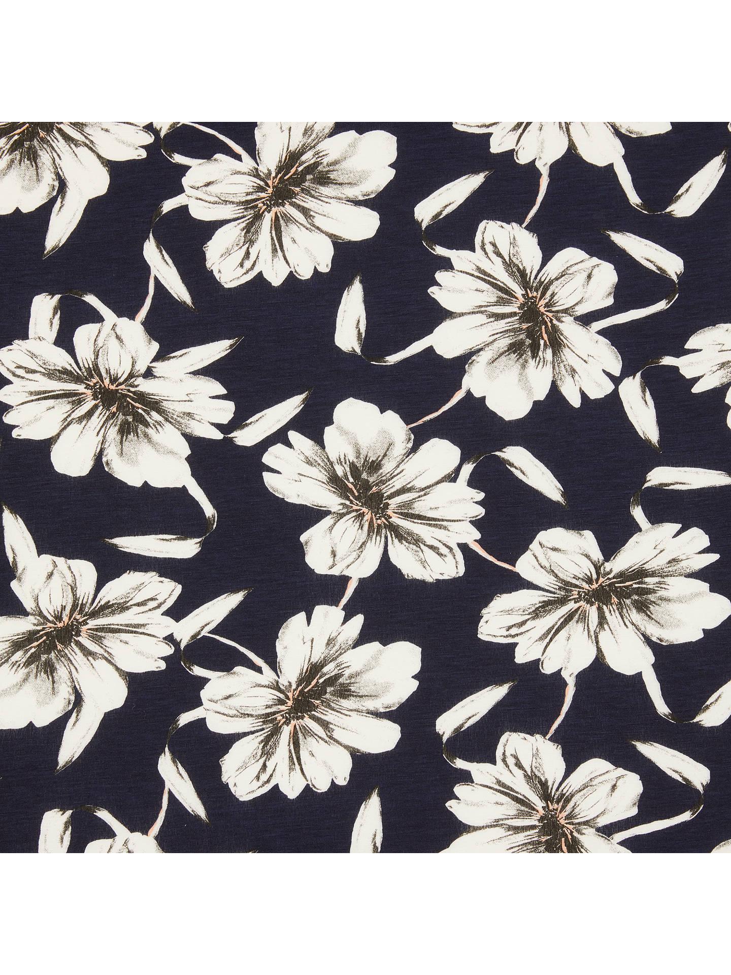 Montreux Fabrics Flower Print Fabric Whitenavy At John Lewis