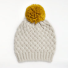 Buy John Lewis Criss Cross Pom Beanie, Cream Online at johnlewis.com