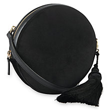 Buy Whistles Tassel Velvet Across Body Bag, Black Online at johnlewis.com