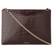 Buy Whistles Rivington Shiny Leather Clutch Bag, Burgundy Online at johnlewis.com