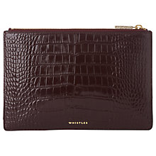 Buy Whistles Shiny Croc Leather Small Clutch Bag, Burgundy Online at johnlewis.com