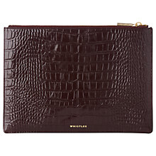 Buy Whistles Shiny Croc Leather Medium Clutch Bag Online at johnlewis.com