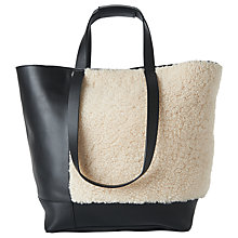 Buy Whistles Hampson Shearling Tote, Cream/Black Online at johnlewis.com