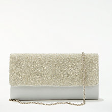Buy John Lewis Isla East/West Beaded Clutch Bag, Silver Online at johnlewis.com