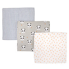 Buy John Lewis Baby Panda Muslin Cloths, Pack of 3, Grey Online at johnlewis.com