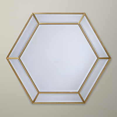 John Lewis Deco Hexagon Mirror, 103 x 89cm, Gold