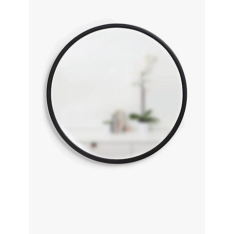 Buy umbra rubber hub round mirror black john for Mirror 60cm wide