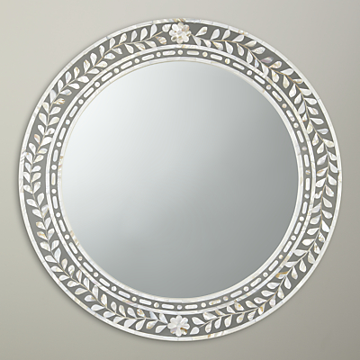 John Lewis Mother Of Pearl Round Mirror, Dia.60cm, Natural