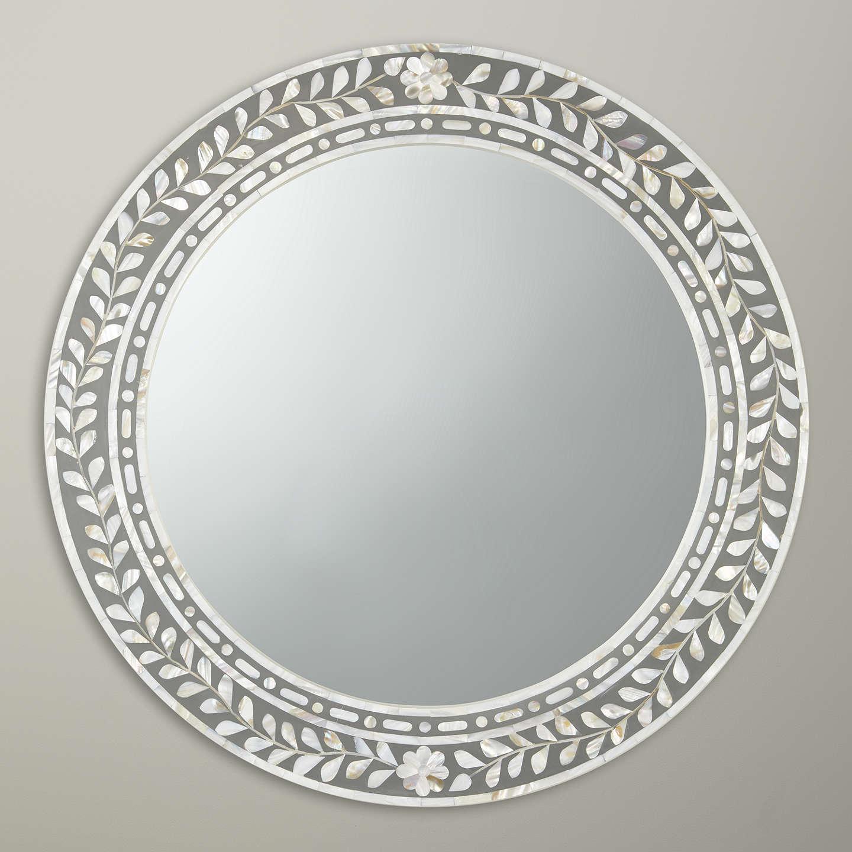 John Lewis Mother Of Pearl Round Mirror Dia 60cm Natural At Johnlewis