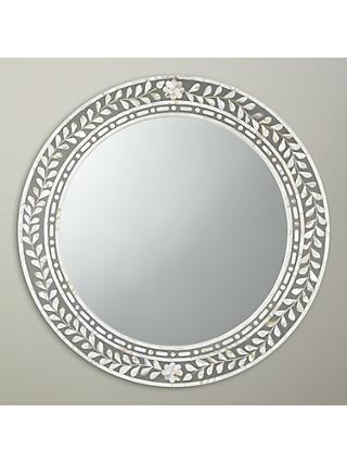 John Lewis Partners Mother Of Pearl Round Mirror Dia 60cm Natural
