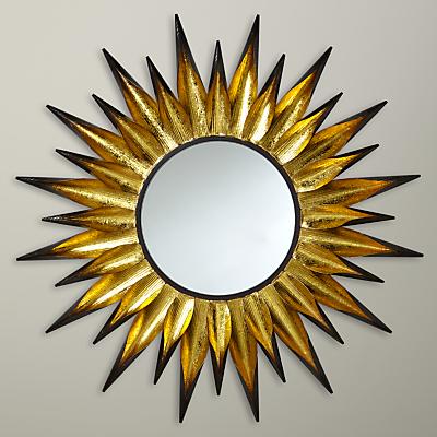 John Lewis Large Sunburst Mirror, Dia.92cm, Gold/Black