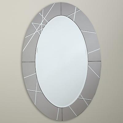 John Lewis Engraved Oval Mirror, 90 x 60cm, Smoke