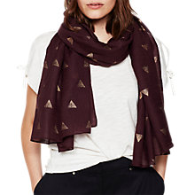 Buy Mint Velvet Geo Fan Foiled Scarf, Dark Red Online at johnlewis.com