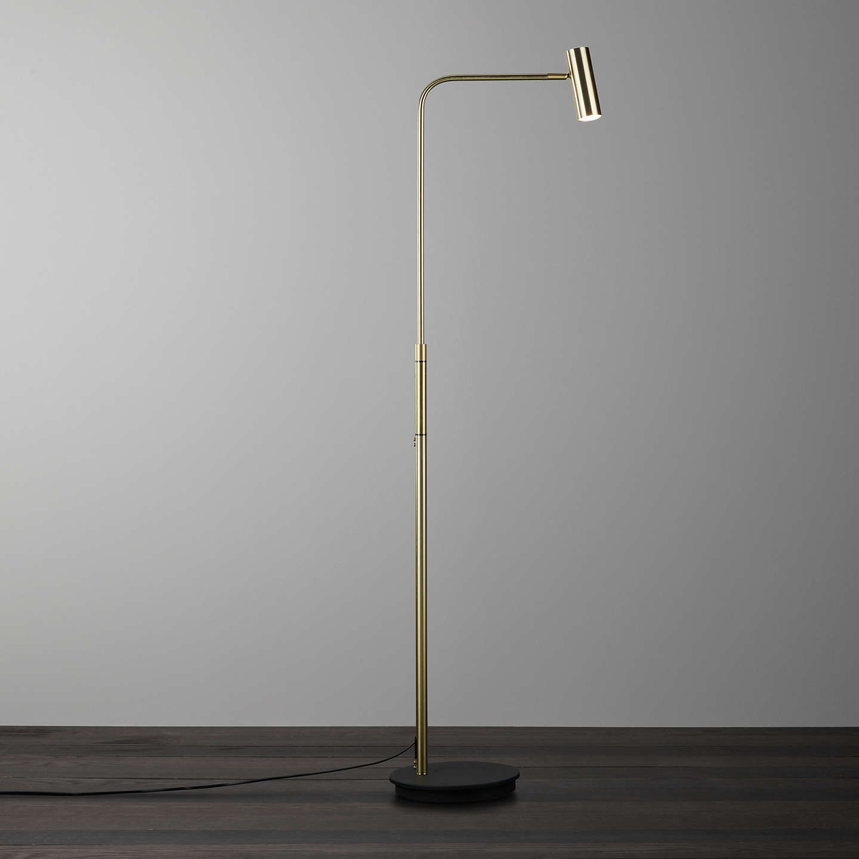 John Lewis Alpha LED 3 Touch Floor Lamp, Brass at John Lewis