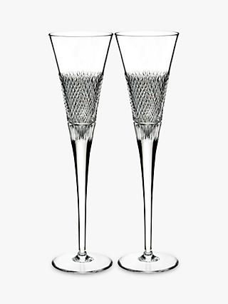 Waterford Diamond Line Crystal Glass Champagne Flute, 115ml, Set of 2