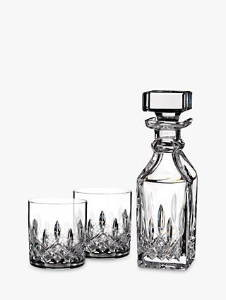 Waterford Lismore Connoisseur Square Cut Lead Crystal Glass Decanter and Tumblers Set, 3 Pieces