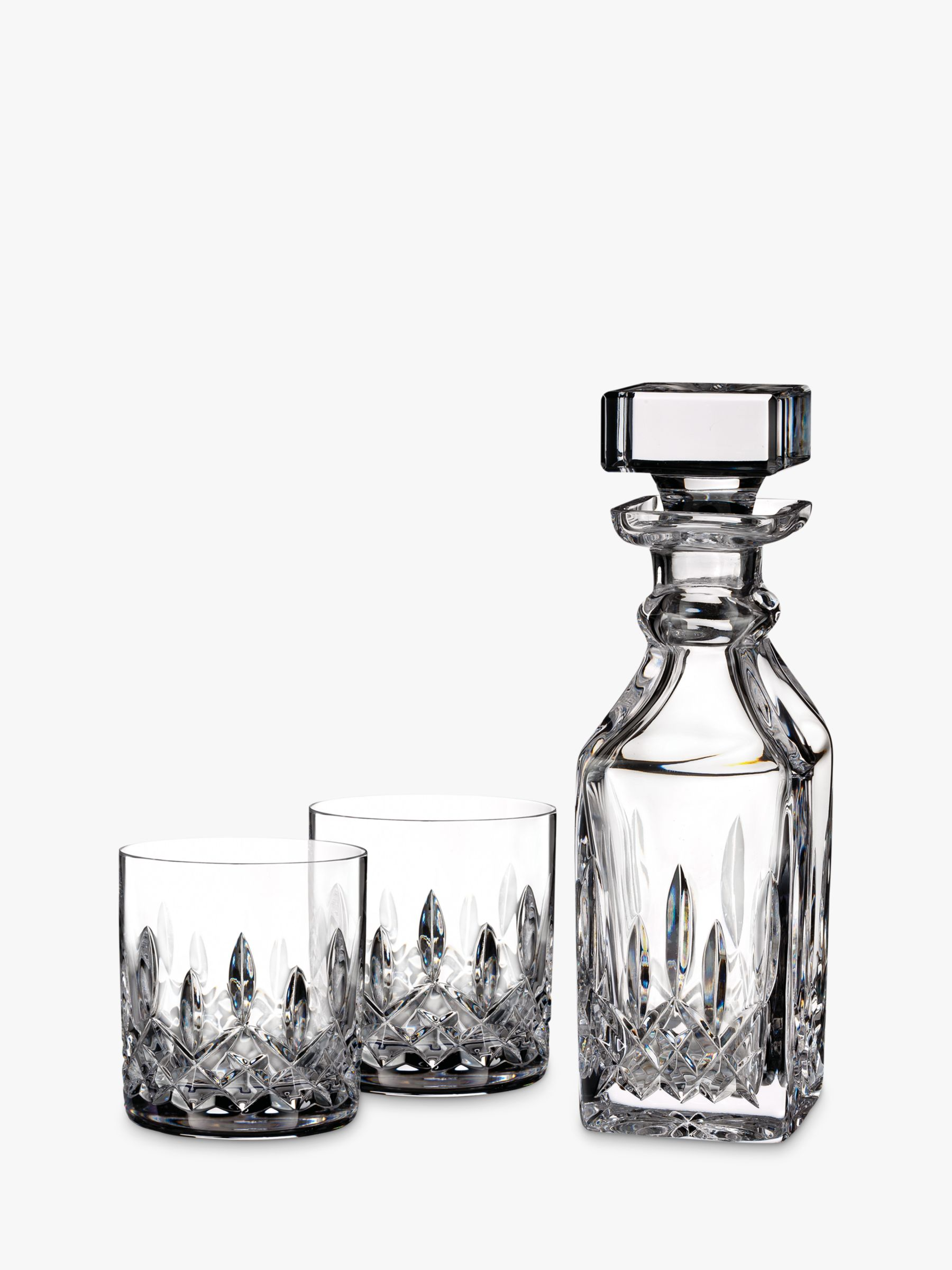 Waterford Waterford Lismore Connoisseur Square Cut Lead Crystal Glass Decanter and Tumblers Set, 3 Pieces
