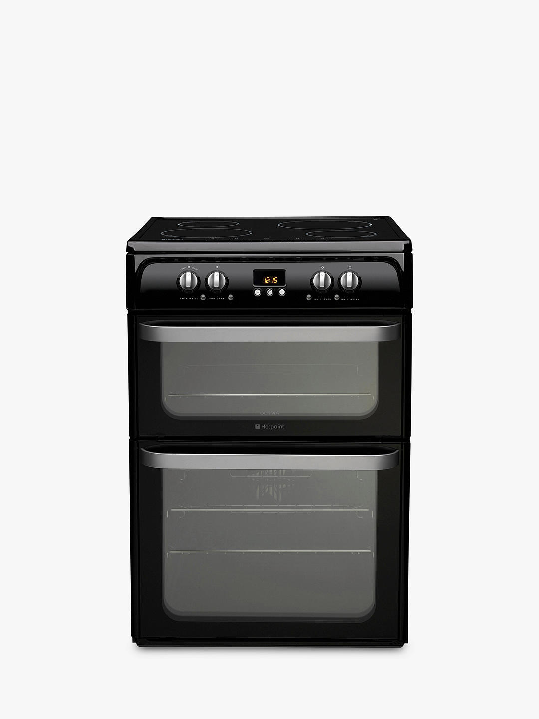 Buy Hotpoint HUI614 K Double Electric Cooker, Black Online at johnlewis.com