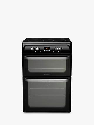 Hotpoint HUI614 K Double Electric Cooker, Black