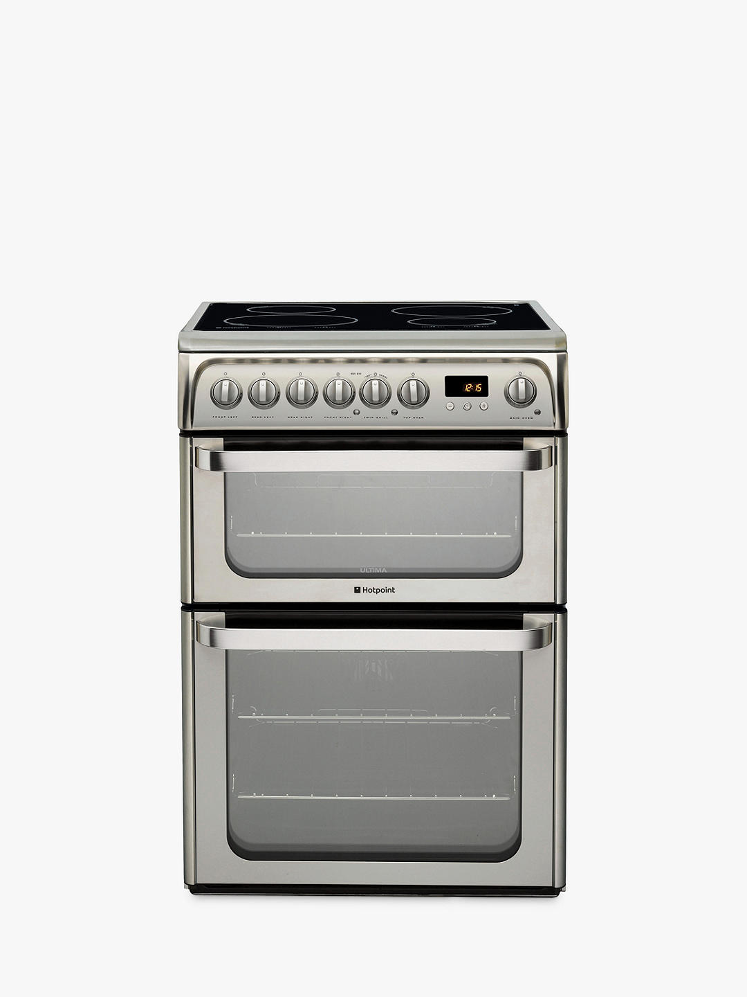 Buy Hotpoint HUI611 X Double Electric Cooker, Stainless Steel Online at johnlewis.com