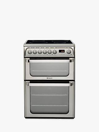 Hotpoint HUI611 X Double Electric Cooker, Stainless Steel