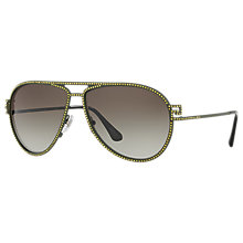 Buy Versace VE2171B Studded Aviator Sunglasses, Green/Grey Gradient Online at johnlewis.com