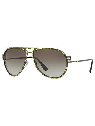 Versace VE2171B Studded Aviator Sunglasses, Green/Grey Gradient