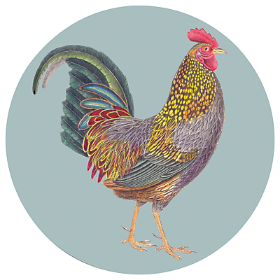 Gadd & Co Cockerel Placemat, Glass, Dia.30cm