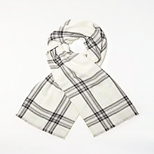 Buy John Lewis Cashmink Check Wrap, Black/Lemon Online at johnlewis.com
