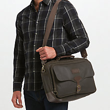 Buy Barbour Land Rover Defender Waxed Cotton Briefcase, Olive Online at johnlewis.com