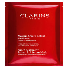 Buy Clarins Super Restorative Instant Lift Serum Mask, 1 Sachet Online at johnlewis.com
