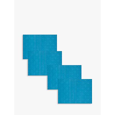 John Lewis Polypropylene Tile Placemats, Teal, Set of 4