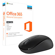Buy Microsoft Office 365 Personal, 1 PC & 1 Tablet, 1 User, One-Year Subscription, with Microsoft 900 Wireless Mouse Bundle Online at johnlewis.com