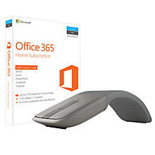 Buy Microsoft Office 365 Home Premium, 5 PCs/Macs + Tablet, One-Year Subscription, with Microsoft Arc Touch Bluetooth Mouse Bundle Online at johnlewis.com