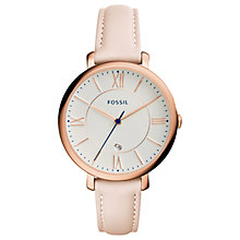 Buy Fossil ES3988 Jacqueline Women's Rose Gold Leather Strap Watch, Light Pink/White Online at johnlewis.com