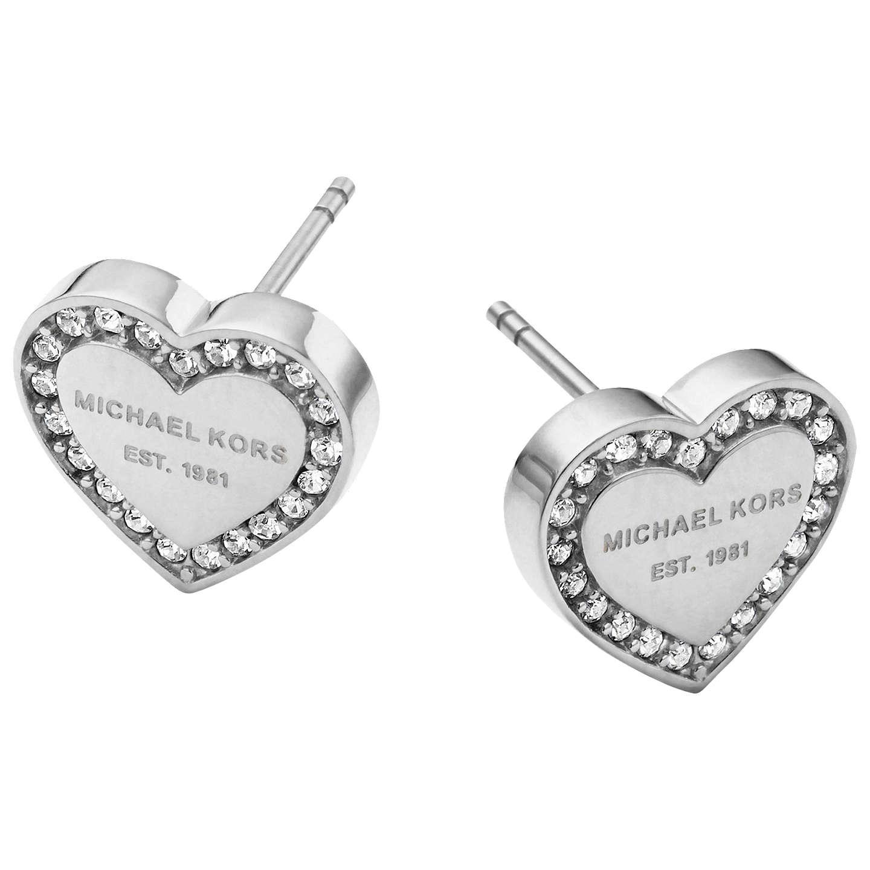 Michael Kors Heart Stud Earrings Silver Online At Johnlewis