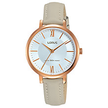 Buy Lorus RG264LX7 Women's Leather Strap Watch, Grey/Gold Online at johnlewis.com