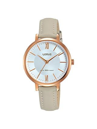 Lorus RG264LX7 Women's Leather Strap Watch, Grey/Gold