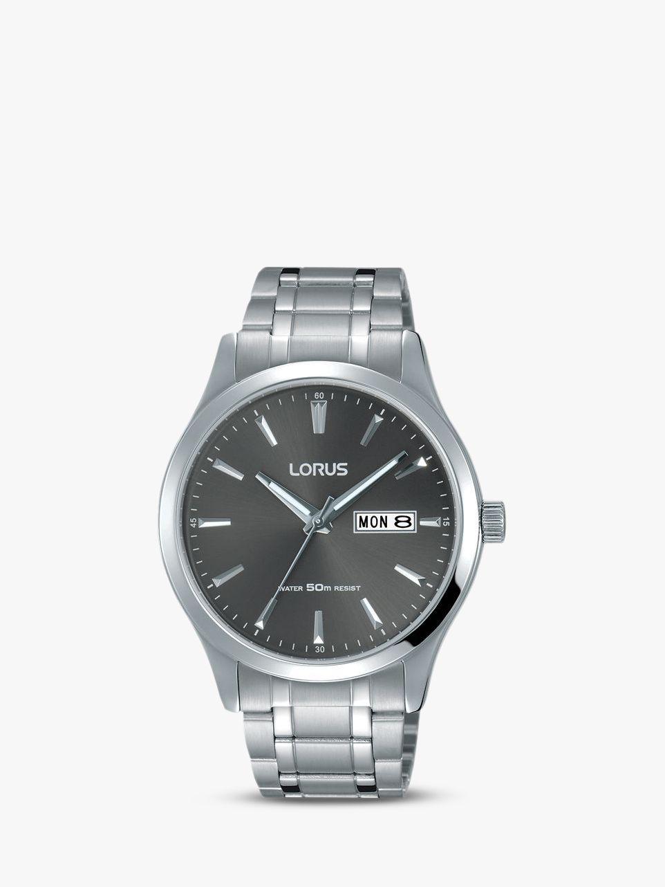 Lorus Lorus RXN35DX9 Men's Bracelet Strap Dress Watch, Silver/Black