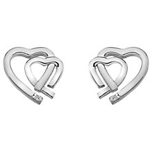 Buy Hot Diamonds Amore Double Hearts Stud Earrings, Silver Online at johnlewis.com