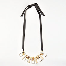 Buy John Lewis Fleck Flat Bead Ribbed Necklace, Gold/Black Online at johnlewis.com